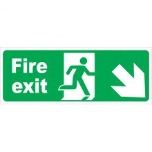 Dependable Fire Exit Arrow Diagonal Right & Down Signs
