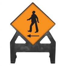Dependable Pedestrians Cross Left Poly Sign