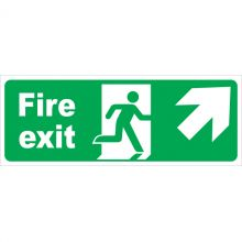 Dependable Fire Exit Arrow Diagonal Right & Up Signs