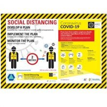 COVID-19 Social Distancing Planning Self-Adhesive Poster