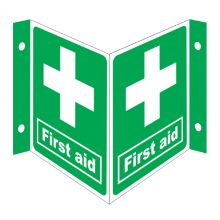 Dependable First Aid Projecting '3D' Signs