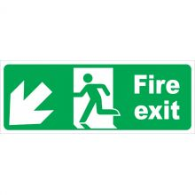 Dependable Fire Exit Arrow Diagonal Left & Down Labels