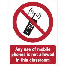 Dependable Mobile Phones Not Allowed in Classroom Signs