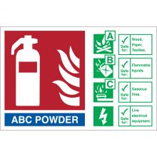 Dependable Fire Safety Signs ABC Powder