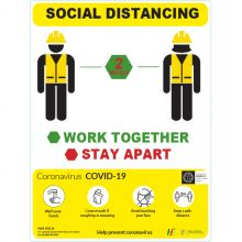 COVID-19 Work Together Stay Apart Sign
