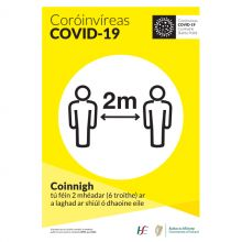 COVID-19 2M Distance Self-Adhesive Poster (Irish)