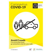 COVID-19 Avoid Crowds Self-Adhesive Poster (English)