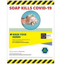 Soap Kills COVID-19 Self-Adhesive Poster