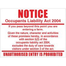 Dependable Occupants Liability Sign