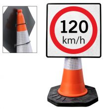"""Cone Mountable """"120KM Speed Limit"""" Reflective White and Red Square Sign"""