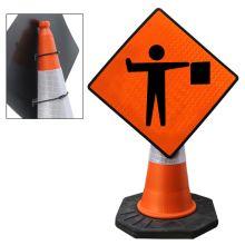 "Cone Mountable ""Flagman Ahead"" Reflective Orange Diamond Sign"