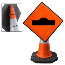 "Cone Mountable ""Hump Or Ramp"" Reflective Orange Diamond Sign"