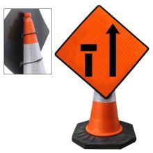 "Cone Mountable ""Left Lane Closed"" Reflective Orange Diamond Sign"
