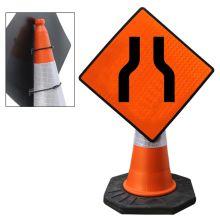 "Cone Mountable ""Road Narrows On Both Sides"" Reflective Orange Diamond Sign"