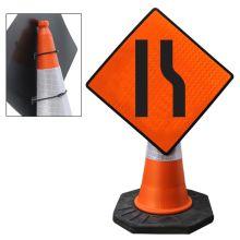 "Cone Mountable ""Road Narrows To The Right"" Reflective Orange Diamond Sign"