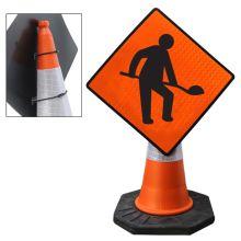 "Cone Mountable ""Roadworks Ahead"" Reflective Orange Diamond Sign"