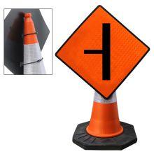 "Cone Mountable ""Sideroad On Left"" Reflective Orange Diamond Sign"