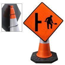 "Cone Mountable ""Site Access On Right"" Reflective Orange Diamond Sign"