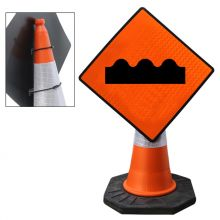 "Cone Mountable ""Uneven Surface"" Reflective Orange Diamond Sign"