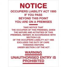 Dependable Notice - Occupiers Liability Signs