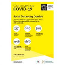 COVID-19 Social Distancing Outside Self-Adhesive Poster