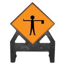 Dependable Flagman Ahead Poly Sign