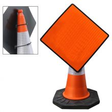 Dependable Cone Mountable Diamond Signs - Reflective Orange