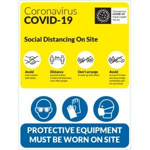 COVID-19 Social Distancing On Site Sign