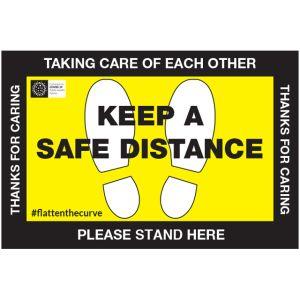 COVID-19 Keep A Safe Distance Floor Sign