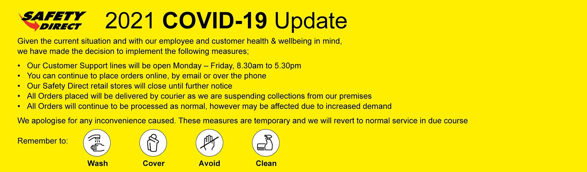 Safety Direct Retail Stores Closure Jan 2021 - Covid 19 Update