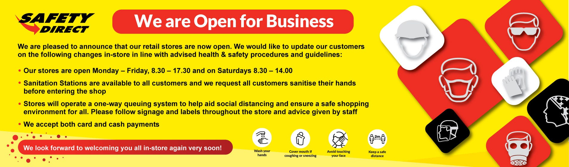 Safety Direct Retail Stores Re-Open